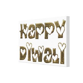 Happy Diwali Greeting Cute Hearts Typography Canvas Print