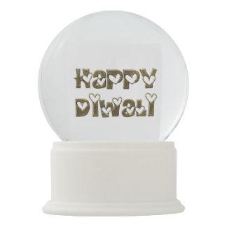 Happy Diwali Greeting Cute Hearts Typography Globe Snow Globe