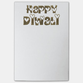Happy Diwali Greeting Cute Hearts Typography Post-it Notes