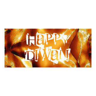 Happy Diwali Greeting Gold Copper Shiny Star Rack Card