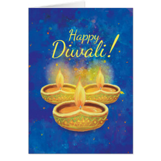 Happy Diwali illuminating candles greeting Card