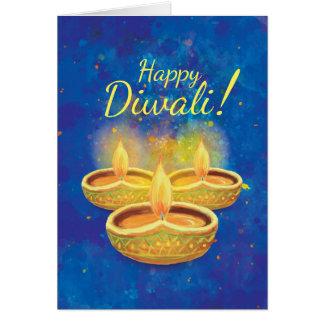Happy Diwali illuminating candles greeting Greeting Card