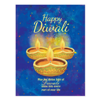 Happy Diwali illuminating candles greeting Postcard