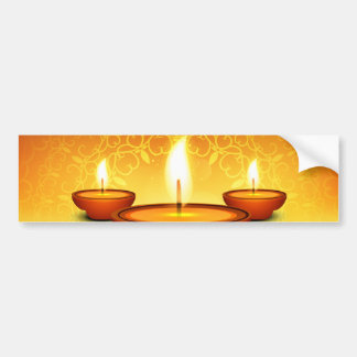Happy Diwali lightning oil lamps golden green Bumper Sticker