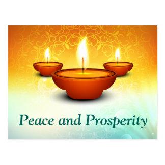 Happy Diwali lightning oil lamps golden green Postcard
