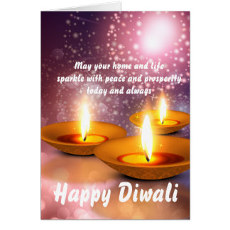 Happy Diwali oil Lamps on glowing fireworks Card