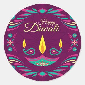 Happy Diwali purple candle flat illustration Classic Round Sticker