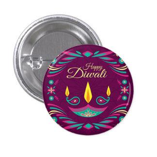 Happy Diwali purple candle illustration 3 Cm Round Badge