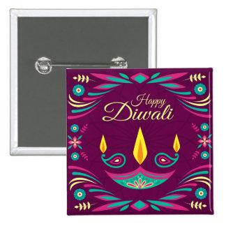Happy Diwali purple teal candle illustration 15 Cm Square Badge