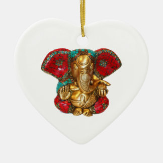 Happy DIWALI -  Thank you GANAPATI Ganesh Ceramic Heart Decoration