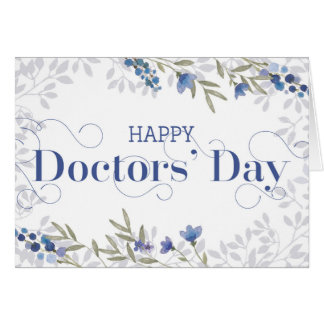 Happy Doctors' Day - Swirly Text and Flowers Blue Card