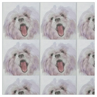 Happy Dog Face Printed Fabric