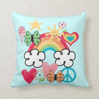 Happy Doodles Hearts Butterflies Love Cushions