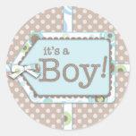Happy Dots Tag It's a Boy Baby Shower Sticker