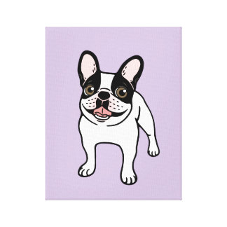 Happy Double Hooded Pied Frenchie Canvas Print