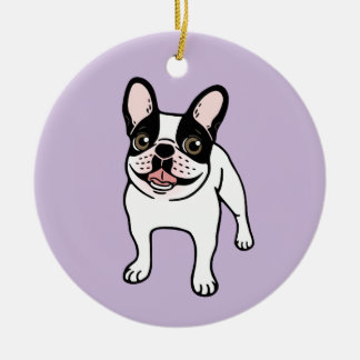 Happy Double Hooded Pied Frenchie Ceramic Ornament