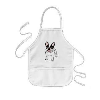Happy Double Hooded Pied Frenchie Kids Apron