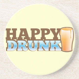 Happy Drunk! design with a beer and head Coasters