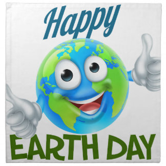 Happy Earth Day Cartoon Globe Mascot Design Napkin