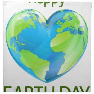 Happy Earth Day Heart Globe Design Napkin