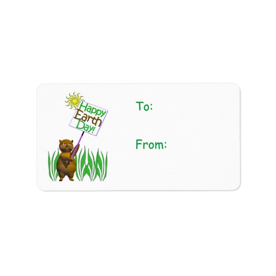 Happy Earth Day Hedgehog Gift Tag Address Label
