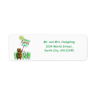 Happy Earth Day Hedgehog Return Address Label