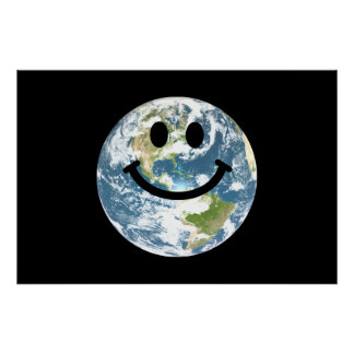 Happy Earth smiley face Poster