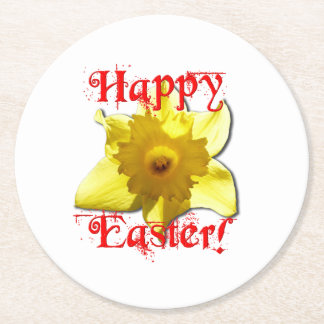 Happy Easter, 02.T Daffodils Round Paper Coaster