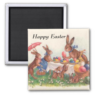 Happy Easter 2 Square Magnet