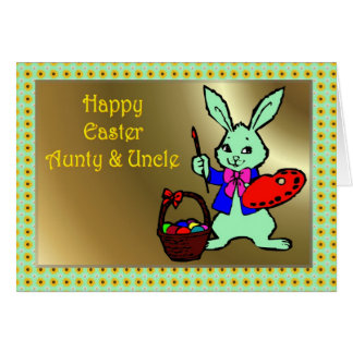 HAPPY EASTER AUNTY & UNCLE BUNNY RABBI CARD