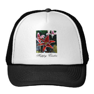 Happy Easter b White Tiger Lily The MUSEUM Zazzle Mesh Hats