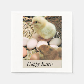 Happy Easter Baby Chicks in a Basket Paper Napkin