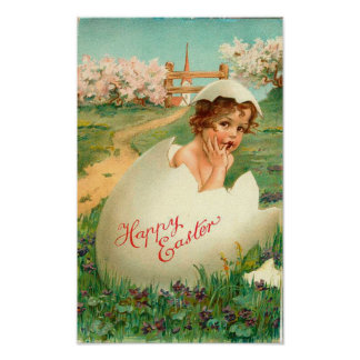 Happy Easter Baby Vintage Poster