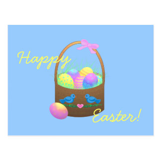 Happy Easter Basket Greeting Card Postcard