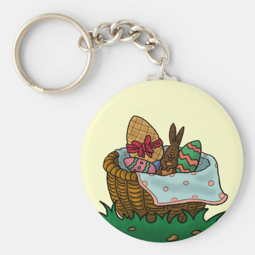 happy easter basket keychain