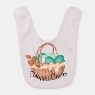 """Happy Easter"" Basket of Eggs and Bunny Bib"