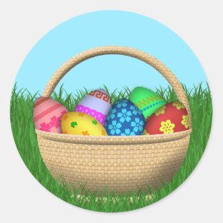 Happy Easter Basket Round Sticker