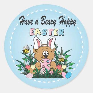 Happy Easter Bear Bunny Rabbit Round Sticker