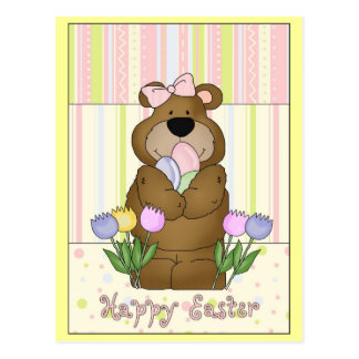 Happy Easter Bear with Tulips Postcard