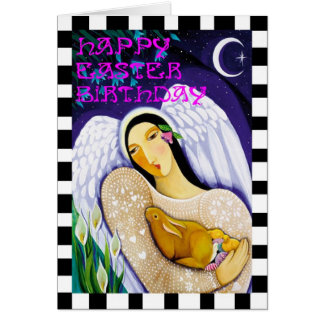 Happy Easter Birthday Angel Greeting Card
