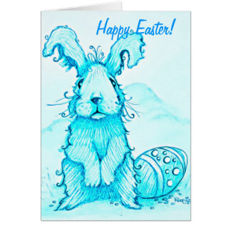 Happy Easter  Blue Bunny Greeting Card