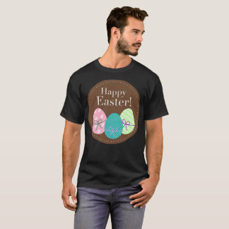 Happy Easter Brown Circle Sunday Eggs Art T-Shirt