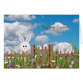 happy Easter bunnies by fence Card