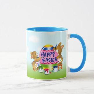 Happy Easter Bunnies decorating eggs Mug
