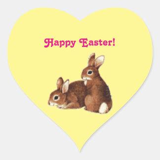 Happy Easter Bunnies Heart Sticker