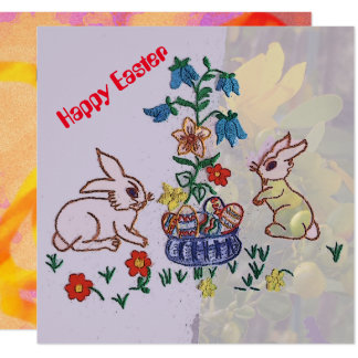 Happy Easter - Bunnies, Lilies and Eggs greeting Card