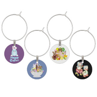 Happy Easter Bunnies with chick background Wine Charm