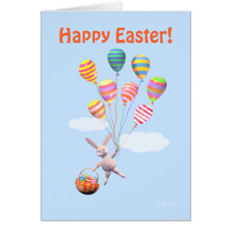 Happy Easter Bunny and Balloons Cards