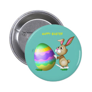 Happy Easter Bunny and Colored Egg 6 Cm Round Badge