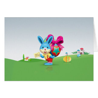 Happy Easter Bunny and Colored Eggs Greeting Card